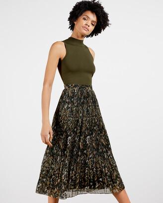 Ted Baker LEMMIE Urban Printed Pleated Mockable Dress