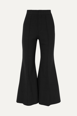 Chloé Cropped Wool-blend Flared Pants - Black