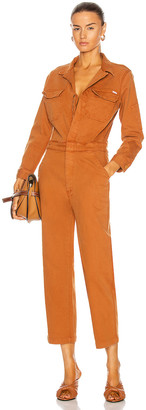 Mother The Fixer Jumpsuit in Leather Brown | FWRD