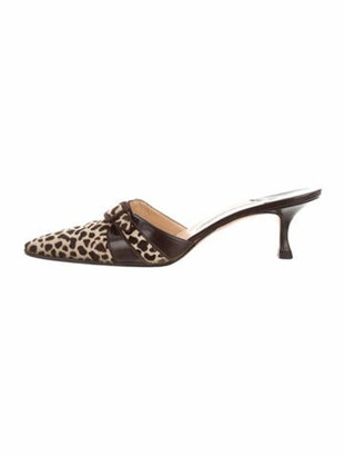 Manolo Blahnik Ponyhair Animal Print Mules Brown