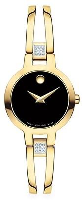 Movado Amorosa Bangle Goldtone & Diamond Bracelet Watch