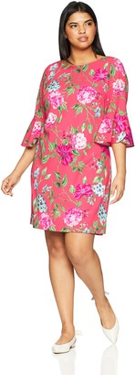 Jessica Howard JessicaHoward Women's Size Shift Dress with Bell Sleeves