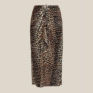 Ganni Animal Leopard Print Wrap Front Skirt DK 34