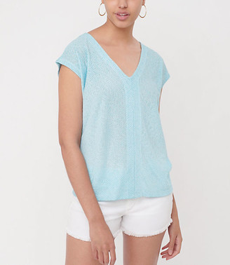 LOFT Striped Dolman V-Neck Tee