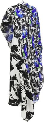 Roland Mouret Calhern Asymmetric Draped Printed Silk Crepe De Chine And Cloque Midi Dress
