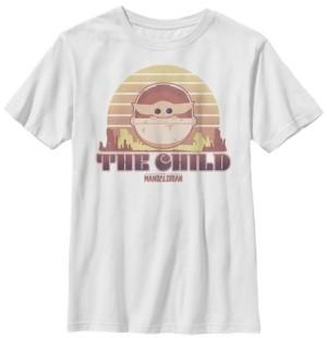 Fifth Sun Star Wars The Mandalorian Big Boys The Child Retro Line Portrait Short Sleeve T-shirt