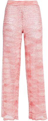 Missoni Sequin-embellished Knitted Wide-leg Pants