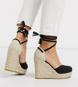 Raid Wide Fit Dorian ankle tie espadrilles in black canvas