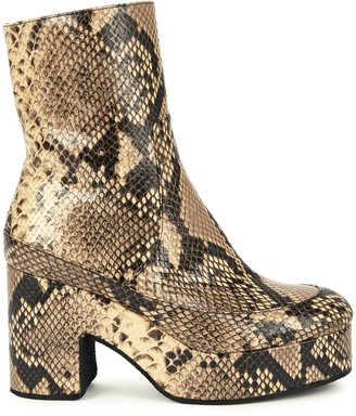 Dries Van Noten 90 Snake-effect Leather Ankle Boots