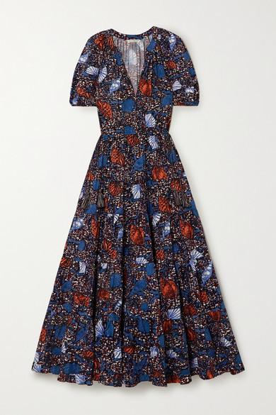 Ulla Johnson Claribel Printed Cotton-poplin Midi Dress - Blue