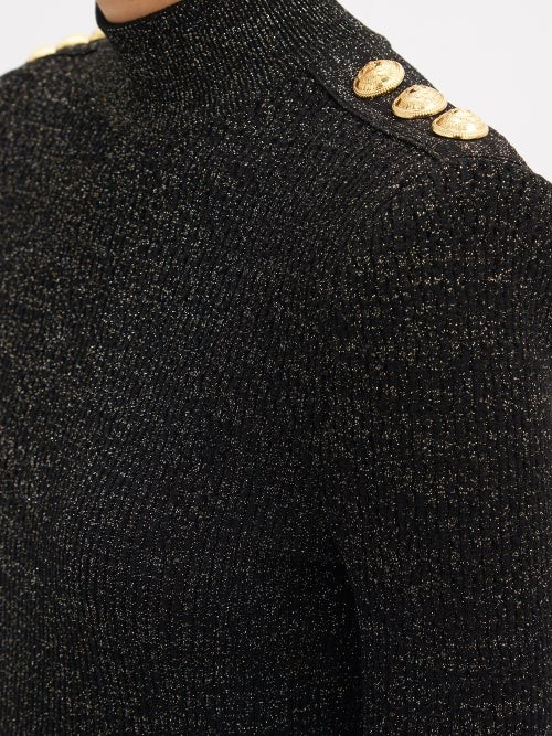 Thumbnail for your product : Balmain High-neck Lame Knitted Mini Dress - Black