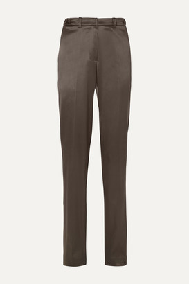 we11done Satin Straight-leg Pants - Brown