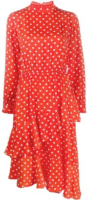 Essentiel Antwerp Asymmetric Polka-Dot Dress