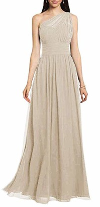 Leader of the Beauty Women's One Shoulder Chiffon Bridesmaid Dresses A Line Prom Dresses Maxi 14 Champagne