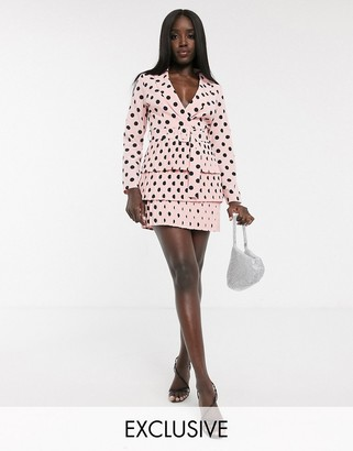 In The Style exclusive plunge front blazer dress with pleated skirt contrast pink polka