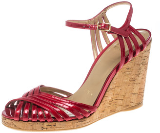 Stuart Weitzman Red Patent Leather Cork Wedge Ankle Strap Platform Sandals Size 38