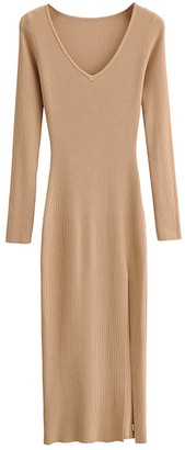 Goodnight Macaroon 'Brooklyn' Wide V-neck Ribbed Knit Slit Maxi Dress (4 Colors)