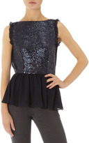 Navy sequin front peplum top