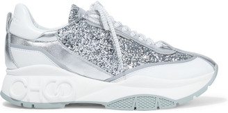 Jimmy Choo Raine Logo-detailed Smooth, Glittered And Metallic Leather Sneakers