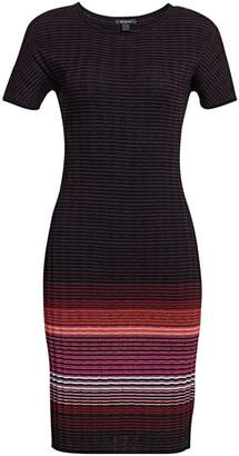 St. John Engineered Ombre Rib-Knit Sweater Dress