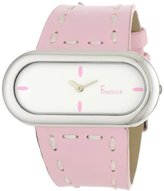 Freelook Women's HA1474-5 Oval Case Leather Band with Stitching-Pink Watch