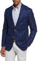 Peter Millar Large Windowpane Wool Soft Sport Jacket, Navy