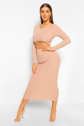 boohoo Cut Out Rib Long Sleeve Midaxi Dress
