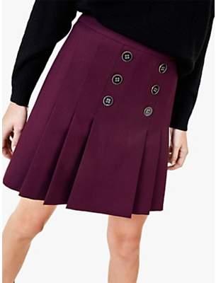 Oasis Button Detail Kilt Skirt, Berry