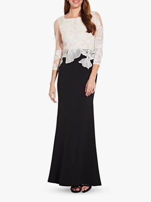 Adrianna Papell Floral Embroidery Mermaid Hem Long Dress, Black/Ivory