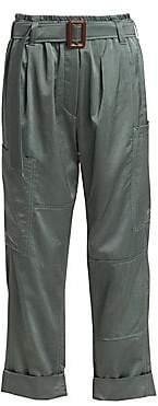 Brunello Cucinelli Women's Belted Satin Pants