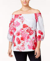 INC International Concepts I.n.c. Plus Size Cotton Off-The-Shoulder Top, Created for Macy's