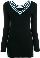 Twin-Set striped V-neck knitted blouse - women - Polyamide/Viscose - S