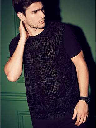 GUESS Men's Short Sleeve WYNN Croc Flock T-Shirt