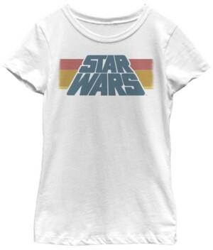 Fifth Sun Star Wars Big Girl's Vintage-Like Slanted Logo Retro Striped Short Sleeve T-Shirt