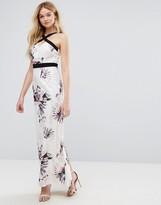 Little Mistress Floral Print Cross Strap Maxi Dress