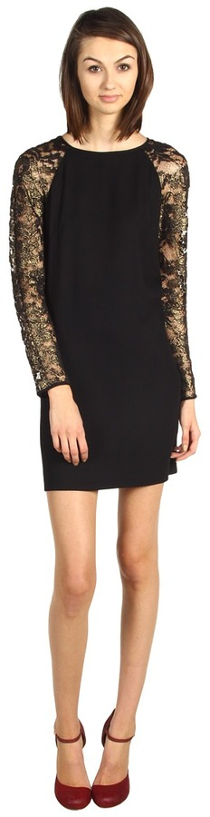 Tibi Foil Lace Shift Dress with Crepe Combo