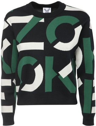 Kenzo Logo Intarsia Knit Cotton Blend Sweater