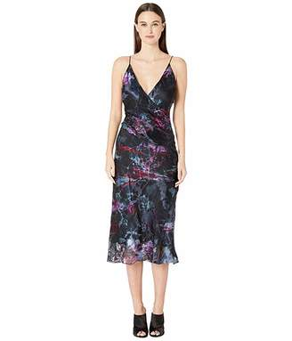 Cushnie Sleeveless Deep V Midi Dress with Twist Detail