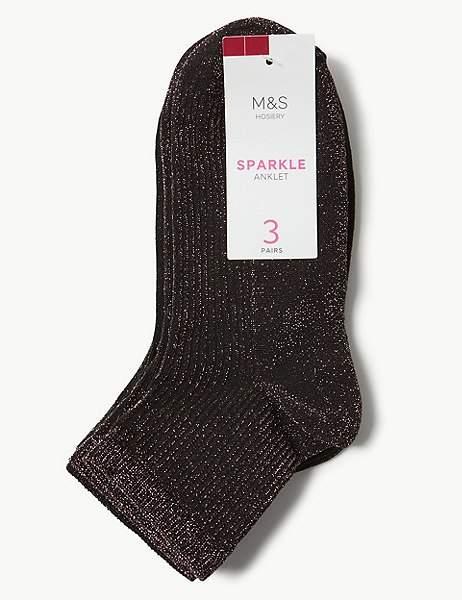 3 Pair Pack Sparkle Anklet Socks