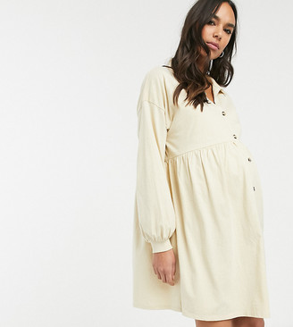 Asos DESIGN Maternity cotton slubby oversized shirt smock dress with horn buttons in beige