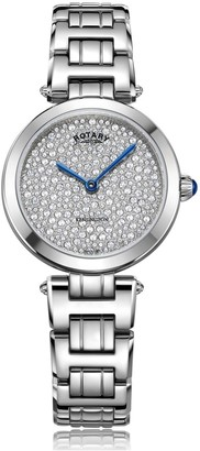 Rotary Watches Kensington Pave Steel Quartz Watch