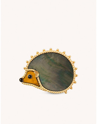 Van Cleef & Arpels Lucky Animals Hedgehog 18ct yellow-gold, gray mother-of-pearl, tiger eye and onyx brooch