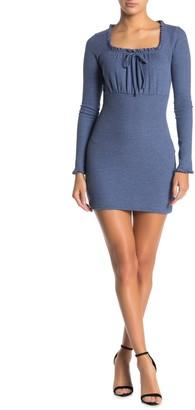 Wild Honey Square Neck Ribbed Knit Mini Dress
