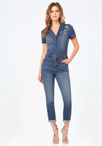 Bebe Embellished Denim Jumpsuit