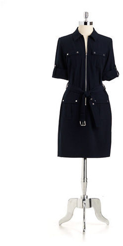MICHAEL Michael Kors Rolled Sleeve Belt Dress