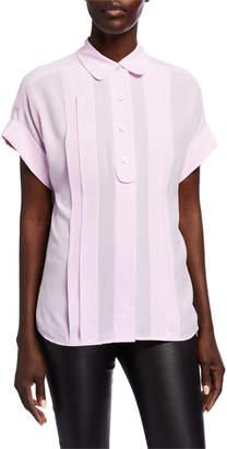 Equipment Dariell Short-Sleeve Pleated Silk Blouse