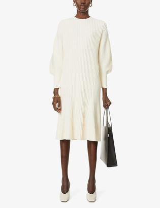 AKIRA NAKA Frida puffed-sleeve cotton-blend midi dress