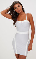 PrettyLittleThing Grey Binding Detail Bandage Bodycon Dress