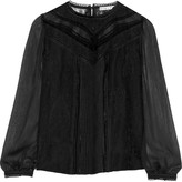 Alice + Olivia Dayna embroidered silk-chiffon and georgette blouse
