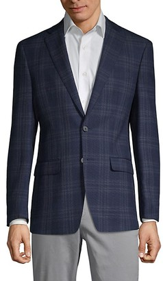 Calvin Klein Slim-Fit Plaid Wool-Blend Jacket